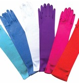 Blauwe satijnen handschoenen