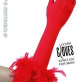 Rode handschoenen met veren