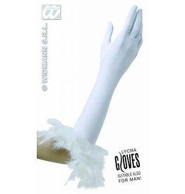 Handschoenen wit met veren