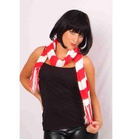 Sjaal gebreid rood/wit 20x150cm
