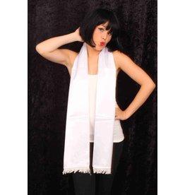 Sjaal satijn wit 180cm