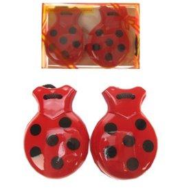 Castagnetten rood met zwarte stippen