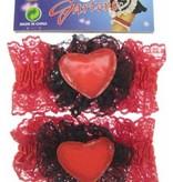 Kousenband met rood hart