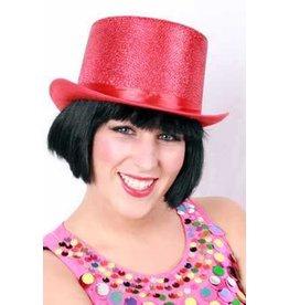 Hoge hoed glitter rood
