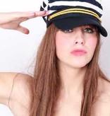 Cap schipper blauw/wit