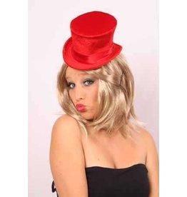 Mini hoge hoed dames met roos rood