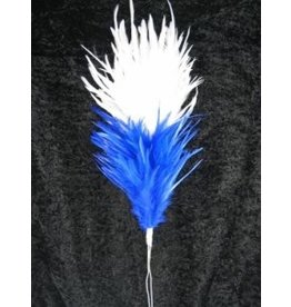 Veren pluim wit met blauw 35cm