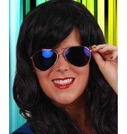 Pilotenbril met blauwe glazen
