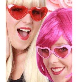 Hartjesbril rood met roze