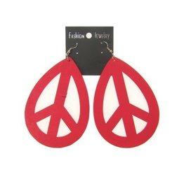Oorbel peace rood