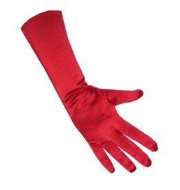 Handschoenen satijn stretch rood