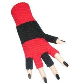 Vingerloze handschoen zwart/rood