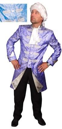 Brokaat jas blauw / zilver