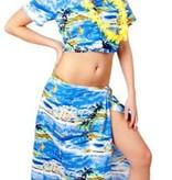 Hawaii set dames palmboom blauw