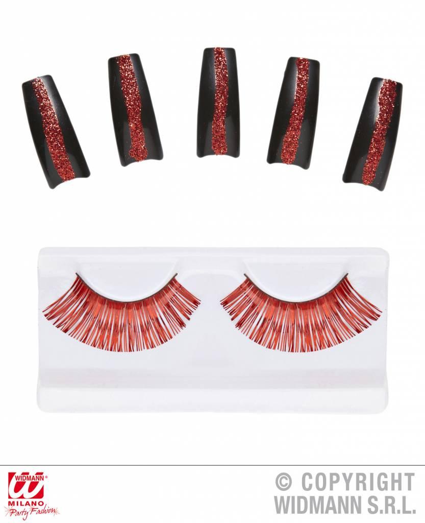 Rode wimpers met nagels