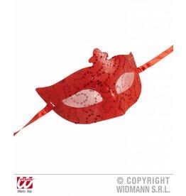 Rood oogmasker met pailletten
