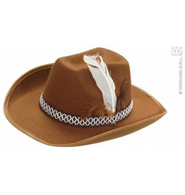 Witte cowboyhoed met veren