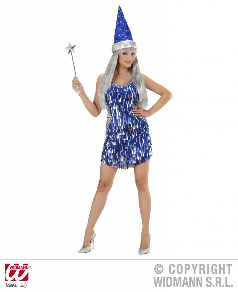 Paillettenjurk blauw met zilver