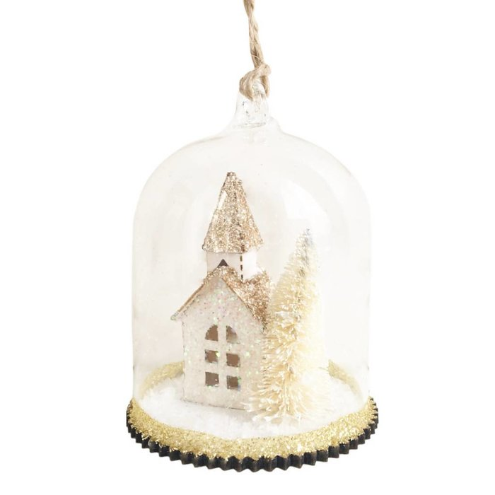 Glitter Church Winter Scene Bauble