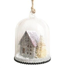 Glitzernde Winterhaus Weihnachtskugel
