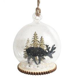 Schwarz-goldene Weihnachtskugel Winterwald