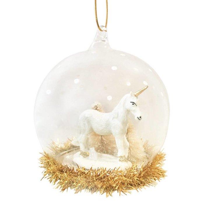 Gold-weiße Weihnachtskugel Einhorn
