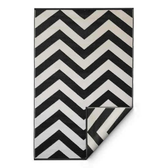 Recycled Black & White Chevron Rug Laguna