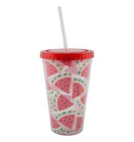 Wassermelonen-Trinkbehälter mit Strohalm