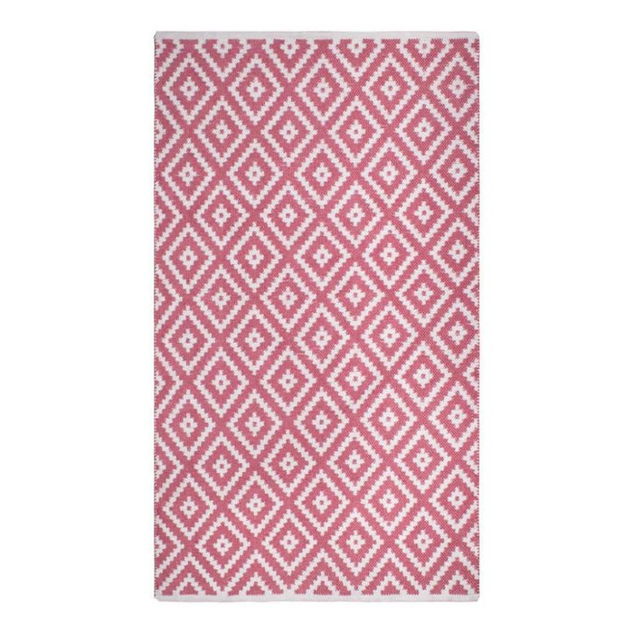 Reversible Diamoned-Shaped Pink & White Rug Chanler