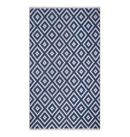 Wendbarer blau-weißer Teppich Chanler mit Rautenmuster
