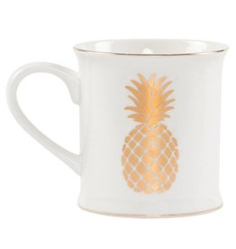 Goldene Ananas Porzellantasse