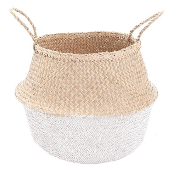 White Dipped Seagrass Belly Basket