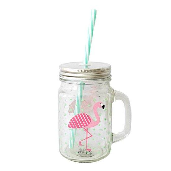 Flamingo Trinkglas mit Strohalm