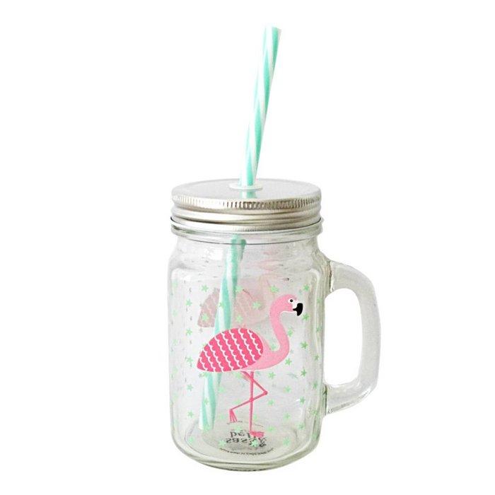 Flamingo Trinkglas mit Strohhalm