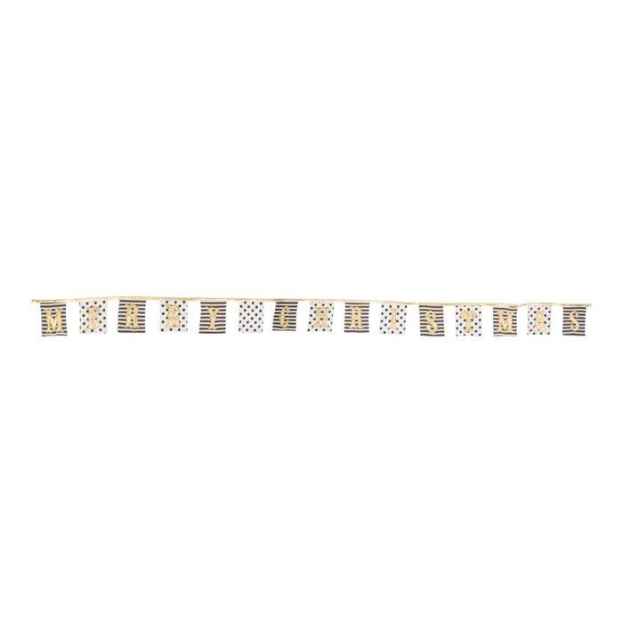 'Merry Christmas' Wimpelkette - gold, schwarz, weiß