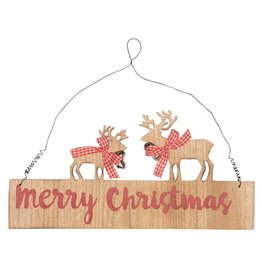 Gingham Reindeer Merry Christmas Plaque