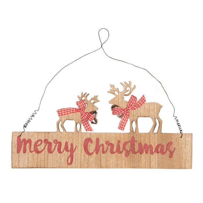 Gingham Reindeer Merry Christmas Plaque