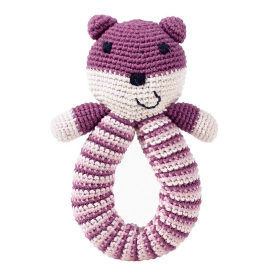 Purple Bear Rattle with Looped Handle