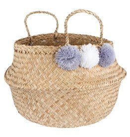 Seagrass Belly Basket with grey/white Pompons