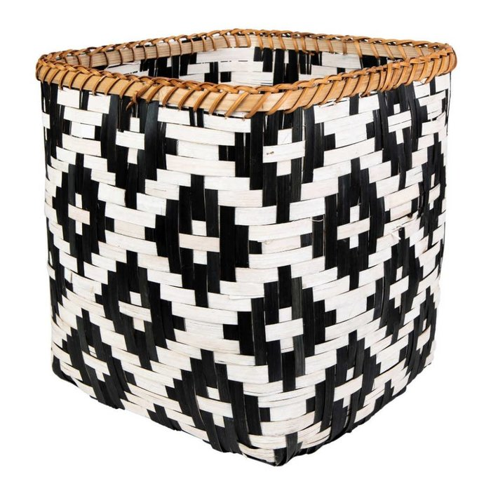 Schwarz-weiß-geflochtener Bambus Korb