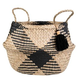 Black Patterned Belly Basket with Tassel