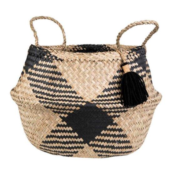 Black Patterned Belly Basket with Tassel