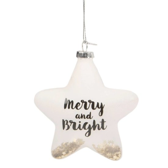 'Merry & Bright' Star Bauble with Gold Sequins