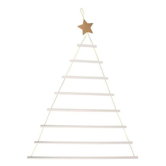 Weiße Weihnachtsbaumleiter zum Aufhängen