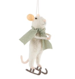 Ice Skating Mouse Felt Winter Decoration