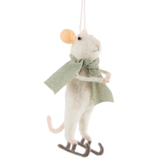 Ice Skating Mouse Winter Decoration
