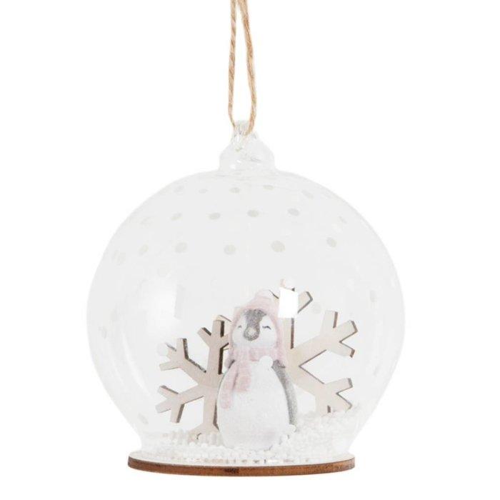 Weihnachtskugel Pinguin Schneeflocke