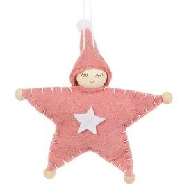 Rosa Elf Sternpuppe zum Aufhängen