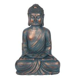 Blau-kupferfarbene sitzende Buddha Dekofigur