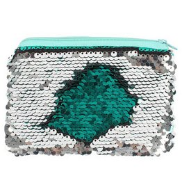 Green Silver Reversible Sequin Coin Purse